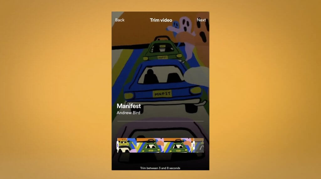 Trim een canvas video in de Spotify for Artists-app.